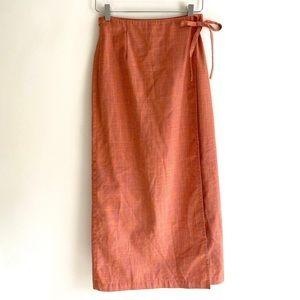 Liz Claiborne Linen Blend Maxi Wrap Skirt Orange